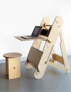 DESKter is a sit & stand workstation, by Ma?gorzata Wojtyczka, that's an all-in-one model that easily transforms between a sitting and standing desk and then folds up for storage.
