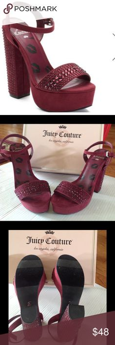 SALE  OFFERJUICY COUTURE RHINE PLATFORM Juicy Couture rhinestone accents platform high heels are a show stopper. Rhinestone accents add shimmer to any outfit. Lip graphics on footbed. Chunky heel. Man made - upper & lining . TPR outsole. Open toe. Buckle closure . Lightly padded footbed . Approximately 6 inch in heel. 1.5 in platform . Brand new comes with juicy couture original box. Juicy Couture Shoes Heels