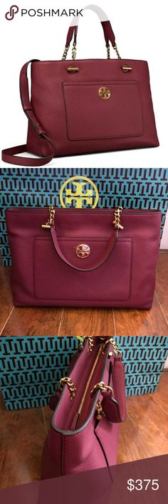 NEW!! Tory burch Chelsea Satchel bag Authentic Brand new..Never used New Without Tags Imperial garnett color Comes with a long strap Tory Burch Bags Satchels