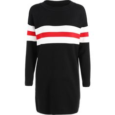Black ONE SIZE Crew Neck Long Sweater (£11) ❤ liked on Polyvore featuring tops, sweaters, dresses, crew top, longer sweater, crewneck sweaters, crew neck tops and long length sweaters