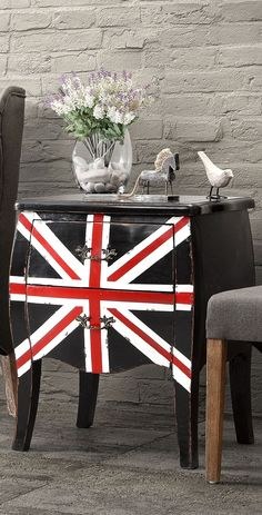 Add bold and retro flair to your living room or entryway with the Union Jack cabinet.