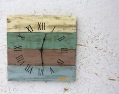 Blue. Green. Pallet Wood Clock, Beach House style. Recycled wood. Distressed. Custom Order. Gift Idea.