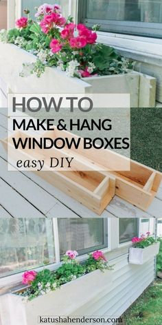 Plans of Woodworking Diy Projects - Easy Flower Window Box DIY How to make and hang window flower box. How to buid a window planter. Hanging basket DIY. Gardening tips and tricks. Get A Lifetime Of Project Ideas & Inspiration!