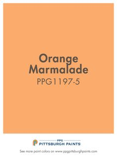Orange Marmalade 1197-3 from PPG Pittsburgh Paints. Orange is energetic, exciting, attention-grabbing and fun. Vivid orange exudes energy & stimulates activity, making it a good choice for socializing spaces like kitchens & living rooms, as well as exercise areas. This hue of orange stands out & can dominate a room, so use it thoughtfully & complement with greens, blues or neutrals.