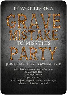 Grave Mistake - Halloween Party Invitations - Sarah Hawkins Designs - Mandarin Orange - Orange : Front