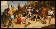 The Stoning of Saint Stephen  Lorenzo Lotto  (Italian, Venice ca. 1480–1556 Loreto)  Date: 1513–16 Medium: Oil on wood Dimensions: 20 3/16 x 38 1/4 in. (51.2 x 97.1 cm) Classification: Paintings Credit Line: Accademia Carrara, Bergamo. Acquired from the Church of San Bartolomeo, Bergamo, 1893