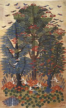 """Flamboyant tree"", 1989,    wool tapestry, 1.90m x 1.17m,    by Nagla Sayed (b. 1971)  Ramses Wissa Wassef Art Centre, Giza, Egypt"