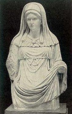 A Roman sculpture depicting a Vestal  From the statue in Rome. Costume of a chief vestal (virgo vestalis maxima). w.commons public domain