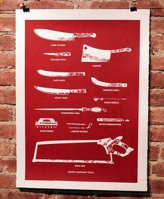 Butcher Tools Silkscreen Print Black by SmashPrinting on Etsy Carnicerias Ideas, Meat Shop, Butcher Knife, Skinning Knife, Butcher Shop, Steak Knives, Vintage Horror, Cooking Tips, Just In Case