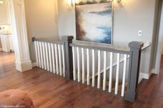 Grey and white hand rail, stairs. Grey and white hand rail, stairs. Farmhouse Stairs, Open Basement, Basement Stairs, Banisters, Home, House Stairs, House, Home Remodeling, Indoor Railing