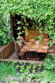 a lush and rustic alfresco dining courtyard