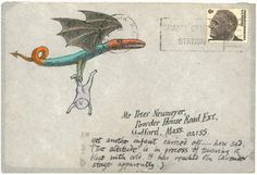 The Envelope Please: Edward Gorey, master of the mischievously macabre, shared a decades-long friendship and correspondence with Peter Neumeyer, a writer and professor whose childrens' books he illustrated. Luckily for us they communicated via snail mail. Gorey's fantastical envelopes, along with sketches, illustrations, and manuscripts, are reproduced in Floating Worlds, via Pomegranate Books. ©The Edward Gorey Charitable Trust, courtesy Pomegranate (pomegranate.com)