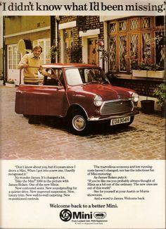 Austin Mini 1000 ad from 1976 modelled by James Bolam.