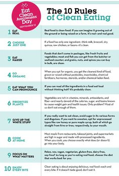 The 10 Rules Of Clean Eating  http://www.prevention.com/food/clean-eating-rules