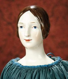 The Memory of All That - Marquis Antique Doll Auction: 67 Fine Early German Porcelain Brown-Haired Lady Doll by K.P.M.