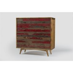 Bailey 4 Drawer Sideboard-Distressed Red
