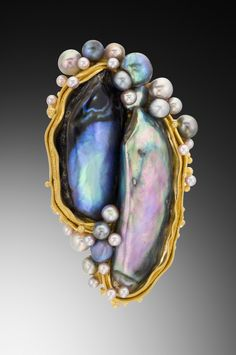 Mother of pearl, pearls, & gold - by Lily Fitzgerald #handmade #jewelry