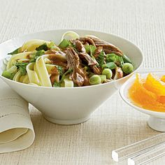 Noodles with Roast Pork and Almond Sauce - Quick and Easy Pork Recipes for Dinner Tonight - Cooking Light Healthy Fats Foods, Healthy Pork Recipes, Healthy Pasta Dishes, Pork Recipes For Dinner, Healthy Food Options, Easy Pasta Recipes, Healthy Pastas, Clean Eating Recipes, Healthy Protein