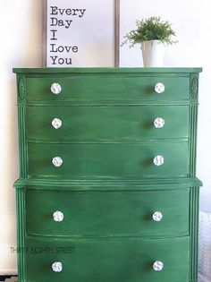 Painted green dresser - Green is a hot home decor trend right now, so check out these gorgeous furniture flips. Furniture makeovers with all shades of green paint   Green painted furniture.
