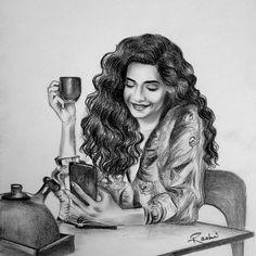 ❤☕ #sketchesbyrashi #sketching #pencilsketchings  #sketchoftheday #instaartist #instasketch  Mus Sketching, Mona Lisa, Artsy, Wonder Woman, Superhero, Portrait, Drawings, Artwork, Fictional Characters