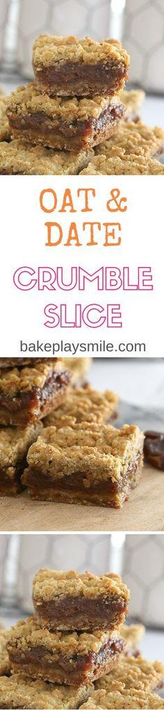 Vegan Oat & Date Crumble Slice (easy biscuits recipe vegan) Weight Watcher Desserts, Köstliche Desserts, Delicious Desserts, Yummy Food, Tasty, Baking Recipes, Cake Recipes, Dessert Recipes, Yummy Treats