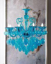 Blue Glass Chandelier.
