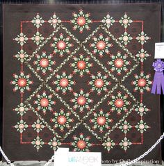 """Best of Show: My Brunette Whig, 87 x 87"""", by Gail Stepanek and Jan Hutchison.  2016 AQS - Phoenix.  Photo by Quilt Inspiration."""