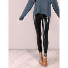 SheIn(sheinside) Black Crop Coated Leggings ($13) ❤ liked on Polyvore featuring pants, leggings, cropped trousers, legging pants, stretch pants, stretchy leggings and stretch leggings