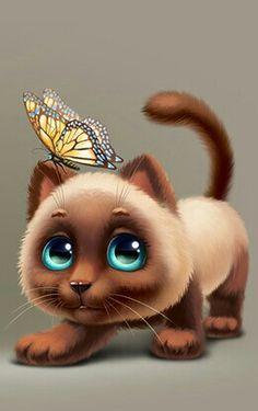 41 Illustration Of Various Cat Ideas - Art Cute Animal Illustration, Cute Animal Drawings, Cute Drawings, Black Cat Art, Anime Animals, Cute Baby Animals, Funny Animals, Dog Art, Crazy Cats