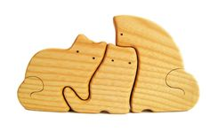 PRODUCT DESCRIPTION:    This adorable wooden puzzle of a Cat family is made from ashwood. It has large, easy to hold on to puzzle pieces for young children and toddlers.     Wood puzzles encourage free and creative play with this safe all natural puzzle. Our safe and easy to hold wooden puzzles are great for children and toddlers. They are a great natural toy!    This eco friendly puzzle is a great gift for any organic minded parent's child. All pieces are sanded smooth.    This cat puzzle…