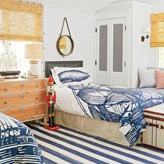 Boy's Nautical Bedroom - L. Holiday Home Tour - Coastal Living Boys Nautical Bedroom, Nautical Home, Vintage Nautical, Nautical Style, House Of Turquoise, Manhattan, Distressed Dresser, Boys Room Design, How To Dress A Bed