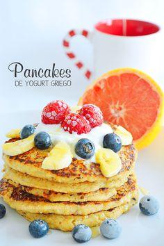 Postres Saludables | Pancakes de Yogurt griego y avena | http://www.postressaludables.com