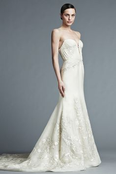 J. Mendel Bridal 2015 - LAUREN - Strapless Silk Bustier Gown with Floral Detailing