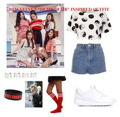"""""""Red velvet """"dumb dumb"""" inspired outfit"""" by kookie-the-seagull ❤ liked on Polyvore featuring moda, Être Cécile, Topshop, NIKE e Maison Margiela"""