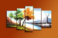 Amazon.com: Cherish Art Hand Painted Mordern Oil Paintings Autumn Winter Trees Landscape 5 Panels Wood Inside Framed Hanging For Home And Wall Decoration.: Oil Paintings