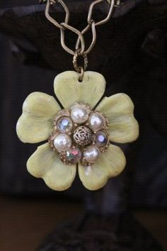 Vintage Yellow Flower Necklace by BelleVia on Etsy, $40.00