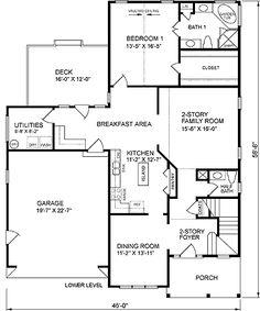 Традиционный План Дома Уровень 45484 Один