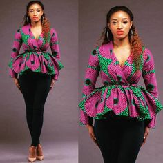 Beautiful Ankara Peplum Tops For a Beautiful Weekend – A Million Styles Ankara Tops Blouses, Ankara Peplum Tops, African Wear Dresses, African Attire, African Outfits, African Tops For Women, African Men, Style Africain, African Print Fashion