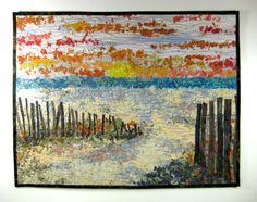 Art Quilt  Beach Sunset  Wall Hanging  Confetti Ocean Quilt, Beach Quilt, Tree Quilt, Quilt Art, Watercolor Quilt, Landscape Art Quilts, Fabric Postcards, Fabric Art, Quilting Projects