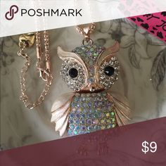 BJ Novelty Large Pink Rhinestone Owl Necklace Brand new with tag. Large movable owl Betsey Johnson Jewelry Necklaces