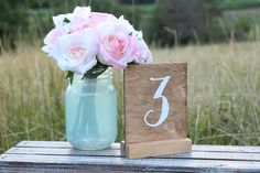 Wood Rustic Wedding Table Number Signs Table by DownInTheBoondocks