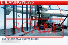 'Huge Plane Crashes Into Bridge' Survey Scam - The message is a scam. There is no video. Those who click the link will be tricked into divulging their personal information via dodgy online surveys and spamming their friends with the same scam message. The image does not depict a real plane crash. It is an artwork created by digital artist Steve McGhee. The image was apparently taken from the artist's website by the scammers and reused in the scam campaign.
