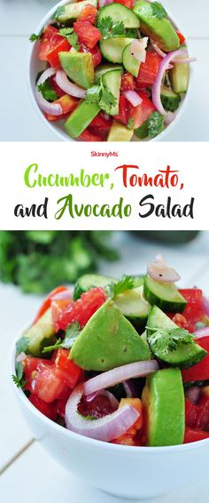 Cucumber, Tomato, and Avocado Salad Best Cucumber, Tomato, and Avocado Salad Ever Avocado Salad Recipes, Healthy Salad Recipes, Healthy Snacks, Vegetarian Recipes, Healthy Eating, Cooking Recipes, Cucumber Salad, Avocado Dessert, Shrimp Salad