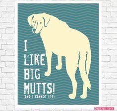 I like BIG MUTTS illustration 8 x 10 digital dog print on Etsy, $18.00