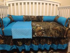 Camo Mossy oak and turquois 4 pc crib by LIZSSTITCHESdotCOM, $259.00