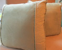 """2 green pillows 20"""" poly - green print w/ suede & 5 coasters"""