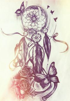 Love this, but instead of a dream catcher, I'd do a compass. And not have the ribbon thing at the bottom of the butterfly.