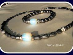 Bracelet homme en pierre de gemmes fines opale et hematite noir