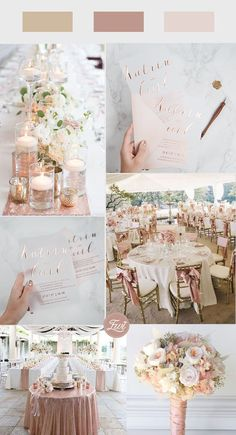 romantic blush and shimmer gold wedding theme with matching invitation