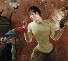 Eugene Joors - Elegant Lady with Parrot in Interior | por irinaraquel
